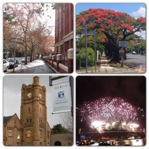 (Từ trái qua và từ trên xuống) 1. Con đường thơ mộng nhất Adelaide :D 2. Góc phố ở Brisbane trông không khác gì ngoại ô Hải Phòng =) 3. Uni of Melbourne - ĐH đẹp nhất Australia 4. Pháo hoa giao thừa ở Sydney - 12 phút xứng đáng với 12 tiếng chờ đợi không khác gì tị nạn :-j
